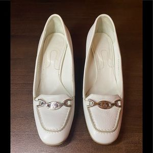 Vintage white Bally small stack heels - 38.5